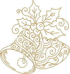 Golden Bells with Holly embroidery design
