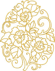 Golden Easter Flowers embroidery design