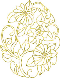 Golden Easter Bouquet embroidery design