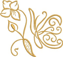 Golden Butterfly embroidery design
