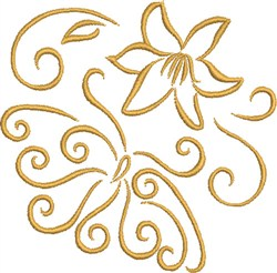 Mariposa With Flower embroidery design