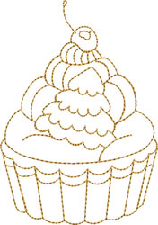 Gold Christmas Cupcake embroidery design
