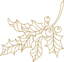 Gold Christmas Holly embroidery design