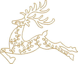 Gold Christmas Reindeer embroidery design