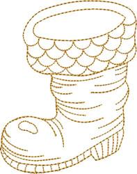 Gold Santa Boot embroidery design