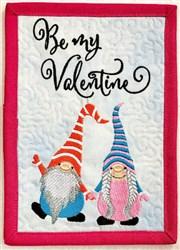 ITH Gnome Valentine Mug Rug 2 embroidery design