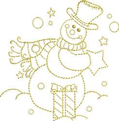 Golden Snowman embroidery design