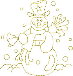 Golden Snowman embroidery design