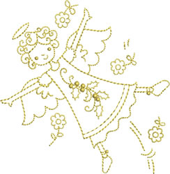 Golden Flying Angel embroidery design