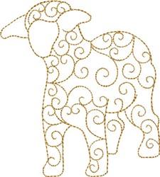 Nativity Swirled Sheep embroidery design