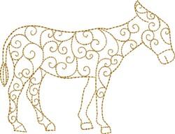 Nativity Swirl Donkey embroidery design