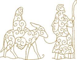 Swirled Mary & Joseph embroidery design