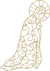 Swirled Praying Mary embroidery design