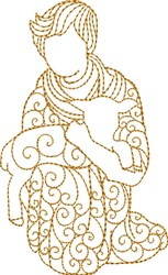 Nativity Shepherd with Lamb embroidery design