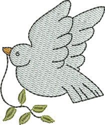 Dove with Olive Branch embroidery design