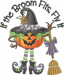 If The Broom Fits Applique embroidery design