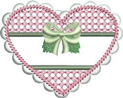 Heart with Bow embroidery design