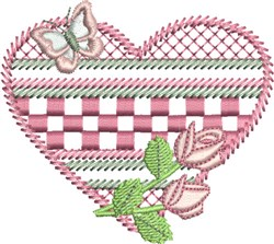 Checked Heart embroidery design