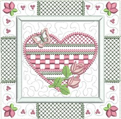 Checked Heart Quilt Bloc embroidery design