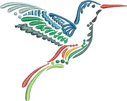 Multi-color Hummingbird 3 embroidery design