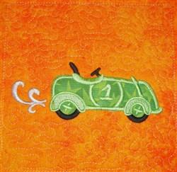 ITH Race Car Applique Quilt Block embroidery design