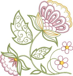 Pastel Jacobean Floral embroidery design