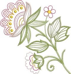 Lattice Work Floral embroidery design
