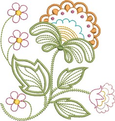 Tangerine Floral embroidery design