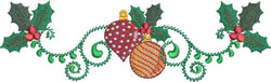 Ornaments and Holly embroidery design