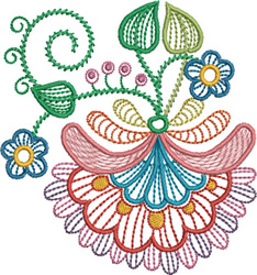 Jacobean Plant embroidery design