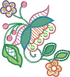 Jacobean Style Flowers embroidery design