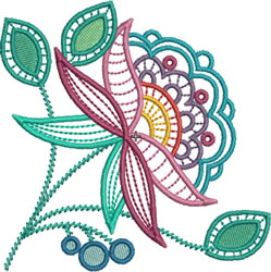 Jacobean Lace Plant embroidery design