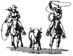Team Roping Cowboys embroidery design