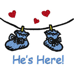 Hes Here embroidery design