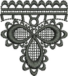 Embroidered Trefoil Lace Single (Not FSL) embroidery design