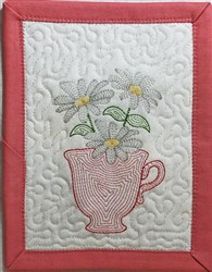 ITH Light Bloom Mug Rug 1 embroidery design