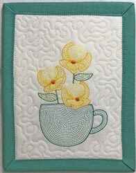 ITH Light Bloom Mug Rug 3 embroidery design