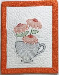 ITH Light Bloom Mug Rug 4 embroidery design