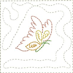 Little Fox Quilt Corner Block embroidery design