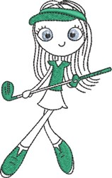Lady Golfer 4 embroidery design