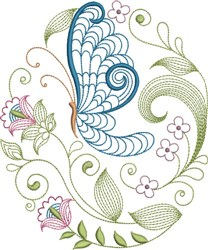 Large Hoop Jacobean Graceful Butterfly embroidery design