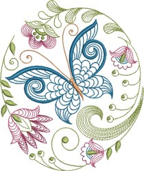 Large Hoop Elegant Jacobean embroidery design