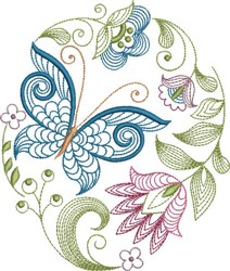 Large Hoop Pretty Jacobean embroidery design