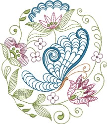Large Hoop Classic Jacobean embroidery design