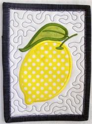 ITH Lemon Mug Rug embroidery design