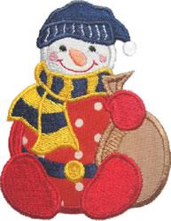 Applique Sack Snowman embroidery design