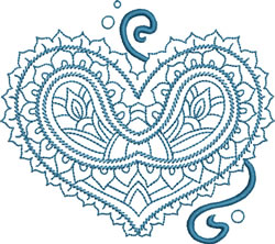 Paisley Heart embroidery design