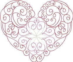 Multi-Color Line Heart embroidery design