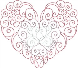 Multi-Color Swirly Heart embroidery design