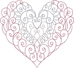 Multi-Color Curled Heart embroidery design